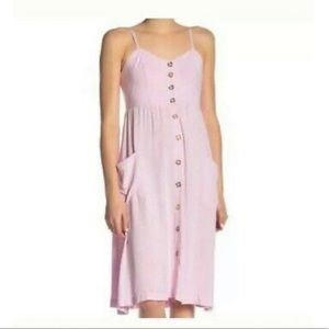 Baby Pink Button Front Midi Dress